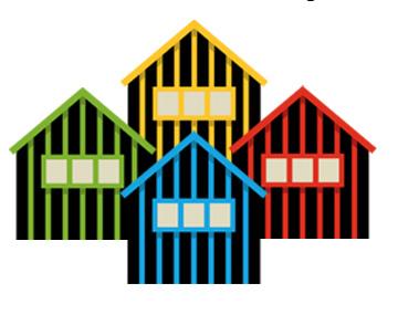 Cabanes thématiques colorées