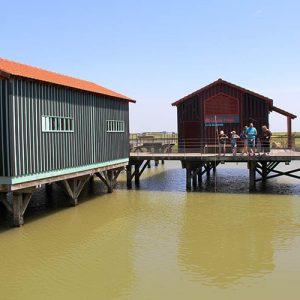 Cabanes ostréicoles thématiques au dessus de l'eau