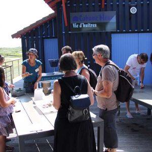 Initiation des visiteurs à l'ouverture des huîtres