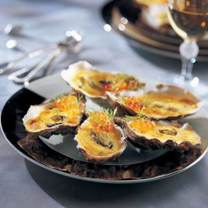 Huîtres chaudes et sabayon au champagne